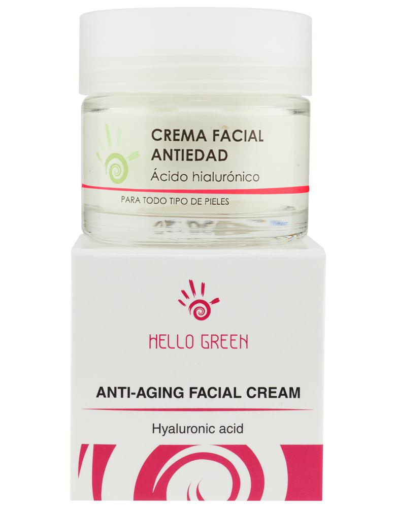 Crema facial antiedad con ácido hialurónico